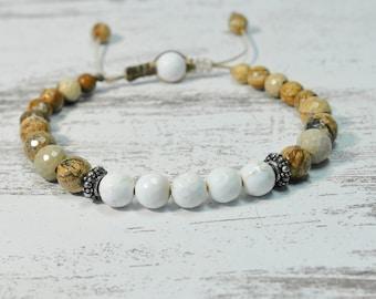Urban Men's Howlite & Picture Jasper Pull Tie Single Bracelet. Boho Jewelry. Bohemian Jewelry. Ideas for him. Gift for him.
