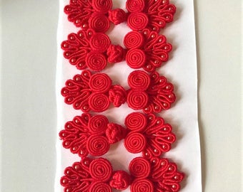 Five Pairs of Bead Chinese Frogs fasteners closure buttons in Red, Available in 12 Colors.