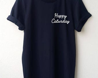 Happy Caturday Embroidery T Shirt Minimal Tee Embroidery Unisex shirt  S M L Tumblr Pinterest