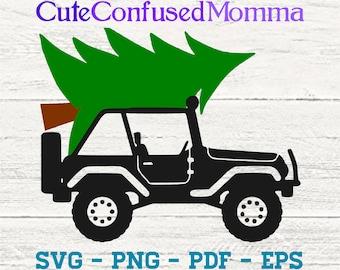 Christmas Tree Svg, Jeep Svg, Christmas Svg, Christmas Tree, Merry Christmas Svg, Christmas Jeep, Jeep Christmas, Cut File, Svg File, Winter