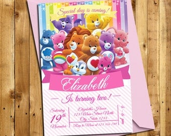 Care Bear Invitation - Care Bear Party - Care Bear Birthday party - Girl birthday- Care Bear birthday - Care bear birthday invitation| CB_1