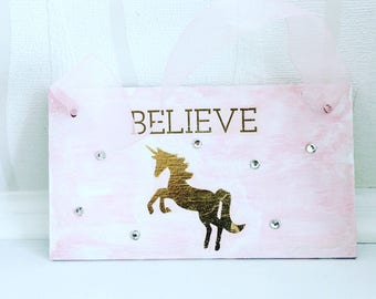 READY TO SHIP - Gold unicorn shabby chic hanging sign with rhinestones, girls room, baby room, nursery, sparkly, shabbychic, home decor, quo
