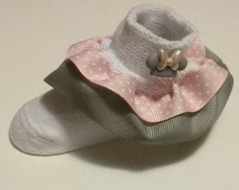 Pink and gray ruffle socks, polka dot socks, infant ruffle socks, Character ruffle socks, party socks, baby ruffle socks, infant socks