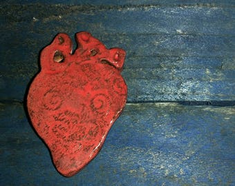Ceramic clay anatomical heart pin brooch. Valentine's day gift. TWOPI1DB