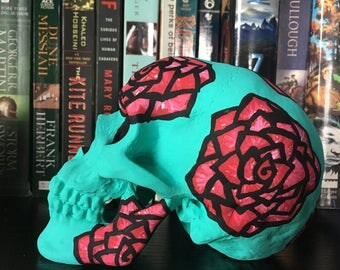 Turquois and Red Hand Painted Skull Decor