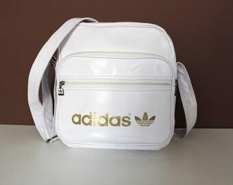 Rare Vintage ADIDAS Bag, White Gold Adidas Crossbody Bag, Adidas Sling Bag, 90's Adidas Shoulder Bag, Trefoil Adidas Handbag, Sport Bag