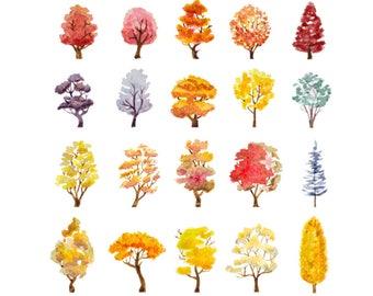 Watercolour Autumn Trees 20 Clip Art Graphic Design Vector AI High Resolution B41