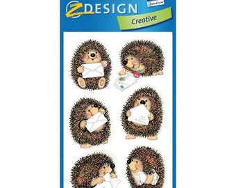 3 sheets of stickers, scrapbooking HEDGEHOG color stickers