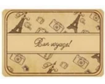 Box of 4 wood stamps BON VOYAGE scrapbooking