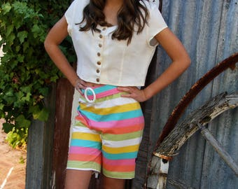 striped stretch size 14 Johnny Dexter 80's Bermuda shorts with white plastic buckle trim