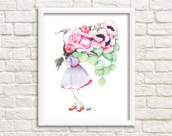 Peonies and anemones florist illustration / poster 8 x 10 female giant flowers / watercolor drawing Reproduction / Katrinn