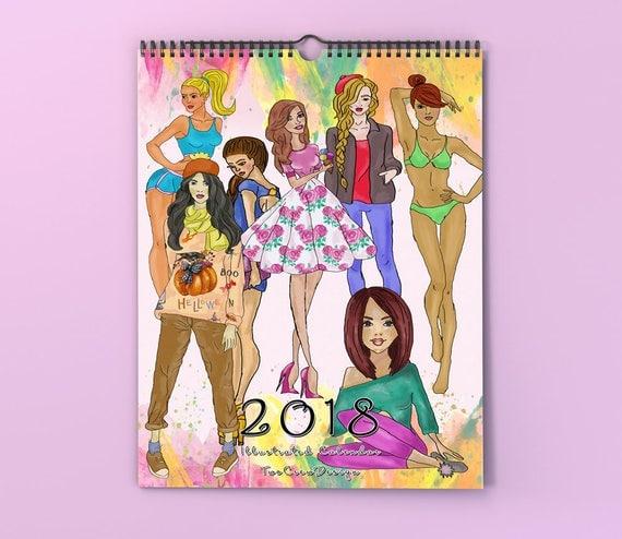 Fashion Illustration Calendar : Fashion wall calendar illustration