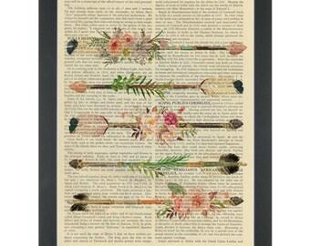 Boho Chic Flower Feather Arrows Dictionary Art Print