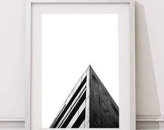 Minimalist City Triangular Skyline, Architecture Photography Urban Art Instant Download Large Art Print, Modern Black and White Printable