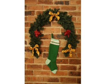Knitted Christmas Stocking - Christmas Stocking - Holiday Stocking - Christmas Decoration - Christmas Decor