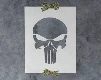 Punisher Skull Stencil - Reusable DIY Craft Stencils of a Skull