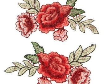 1pairs(2Pcs/set )Rose Flower Floral Collar Sew on Patch Cute Applique Badge Embroidered Fabric Sticker no.108