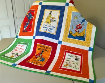 Dr Seuss Green Eggs and Ham Quilt
