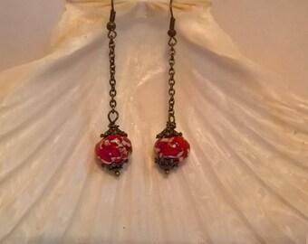 hand made enamelled Terra-cotta ceramic red beads earrings