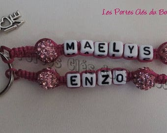 key 2 lines without knot wire Fuchsia pink beads