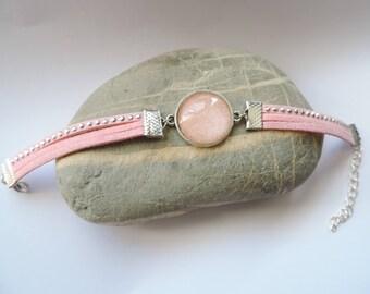 varnished cabochon pink glittery orange suede strap