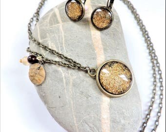 cabochon set in bronze and gold ღ ღ parure necklace and earrings