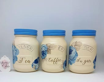 Set of 3, hand painted, Cream and blue floral tea coffee sugar kitchen canisters