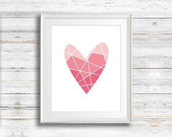 Pink Heart Print, Valentines Day Gift, Love Heart, Shades of Pink, Heart Graphic, Love