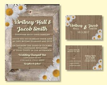 Daisy and Barn Wood Wedding Invitation and RSVP