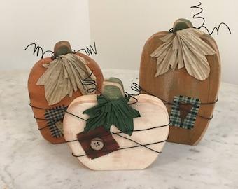 Primitive wood pumpkins, Fall decor, pumpkins, Fall, primitive decor