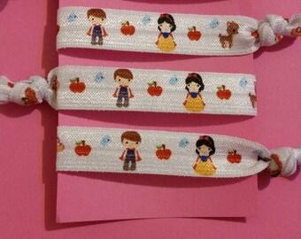 4 piece Snow White hair elastic ties
