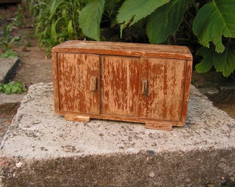 Antique wooden box, Wooden cabinet with two doors, Vintage Wooden storage box, Hand-made wooden cabinet, Small brown old box,
