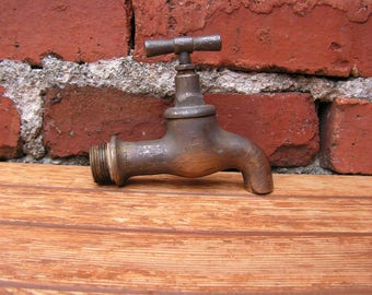 Solid Brass Water Tap, Vintage Water Faucet, Brass Spigot, Water Spigot, Vintage Spigot with patina, Brass water faucet, Industrial decor