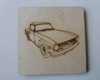 Triumph TR6 Coaster - Etched wood