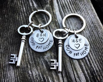 SET Stainless Steel Fist Home Keychain with charm Our 1st Home with initials