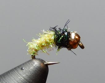 Three (3) Sparkle Caddis Flies, w/ Tungsten Weight, Sizes 14-18, for fly fishing
