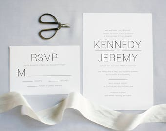 The Kennedy Suite  //  Classic Modern Typography Wedding Invitation Suite