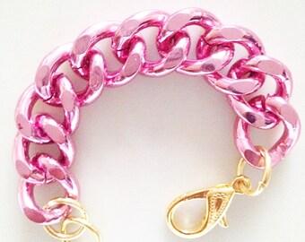Pink Chunky Curb Chain Bracelet, Chunky Chain Jewelry, Pink Chain Links, Chunky Jewelry