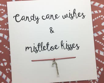 Christmas card , christmas gift, candy cane card, candy cane bracelet, special christmas card
