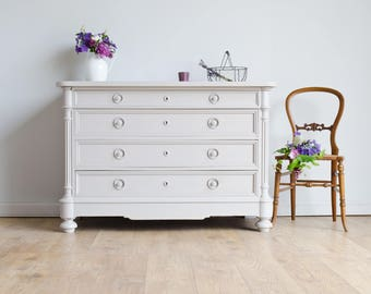 French Antique 19th Century Oak Chest of Drawers Painted in Farrow & Ball