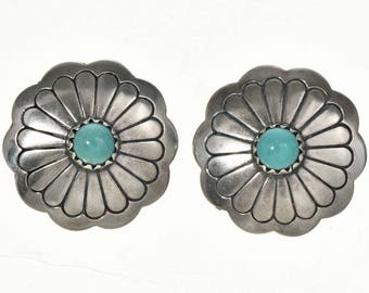 Navajo Hammered Concho Turquoise Earrings Post Style Sterling Silver Native American Jewelry