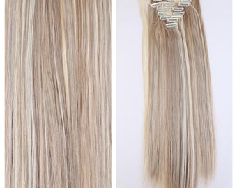 "Blonde Clip In Hair Extensions Clip In Ash Blonde Platinum Blonde Mix Hair Extensions 26"" Long Full Set Double Weft Hair Weave Wigs"