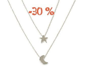 SUMMER SALE / / / Silver Star & Moon necklace