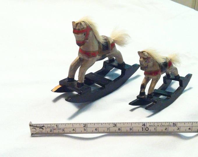 Vintage Wood Carved horse dollhouse figure rocking horse hand carved decoration