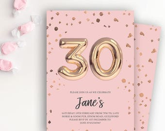 30th Birthday Printable Rose Gold Balloon Invitation & Pink