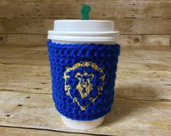 World of Warcraft Alliance cup cozy - WoW alliance, cup band, coffee cozy, tea sleeve, coffee cup cozy, WoW cup cozy, coffee, cup cover