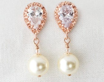 Rose Gold Pearl Wedding Earrings, Ivory Pearl Dangle Earrings, Pearl Drop Earrings, Pearl Earrings,Earrings,Swarovski Earrings