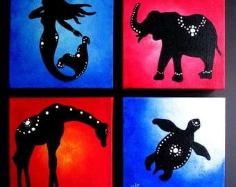 4 Acrylic 6x6 inch animal paintings on stretched canvas