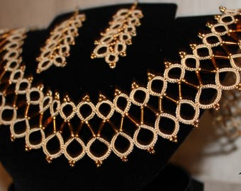 Statement wife gift Egyptian necklace Tatting Statement Wedding Boho Set Necklace Earrings Gift Idea Gift Statement Women Gift Boho mom gift