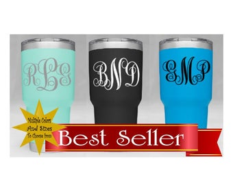 Yeti Decal |Monogram Decal |Yeti sticker |  Buy 2 get 1 Free! Monogram decal for yeti  | Monogram yeti decal | vinyl monogram |